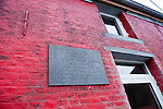 """Belgium, Colfontaine near Mons - December 17, 2014 -- European Capital of Culture in 2015 (together with the Czech city of Pilsen) themed """"Where technology meets culture""""; here, a memorial plaque at the house (now under renovation) where Vincent van Gogh lived 1878-1879 -- Photo © HorstWagner.eu"""