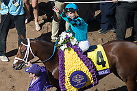 DEL MAR, CA - NOVEMBER 04: Joel Rosario, aboard Stormy Liberal #4, waves after winning the Breeders' Cup Turf Sprint on Day 2 of the 2017 Breeders' Cup World Championships at Del Mar Thoroughbred Club on November 4, 2017 in Del Mar, California. (Photo by Ting Shen/Eclipse Sportswire/Breeders Cup)