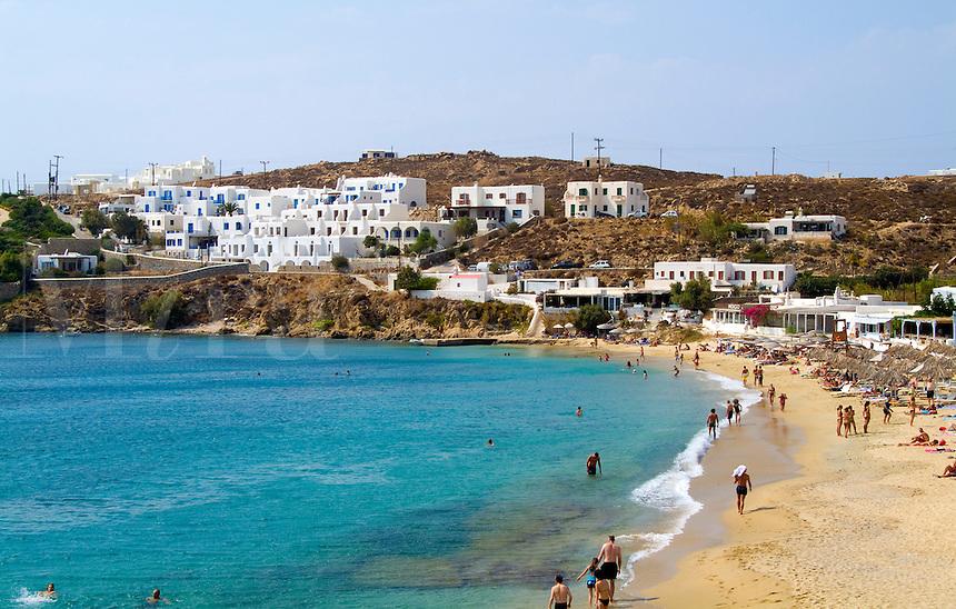 Beach called St Stefanos Beach, island of Mykonos, Greece