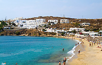 Beach called St Stefanos Beach, island of Mykonos, Greece