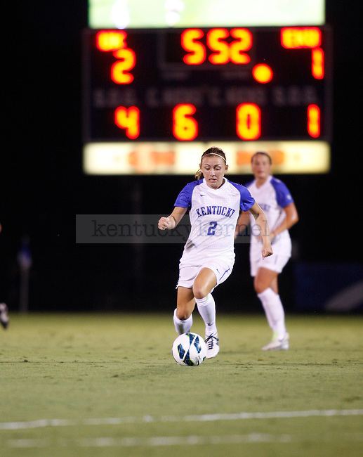 The UK Women's Soccer freshman Courtney Raetzman dribbles upfield against Eastern Kentucky Colonels at UK Soccer Complex on Friday, Aug. 24, 2012. Photo by Scott Hannigan | Staff
