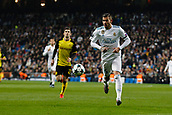 6th December 2017, Santiago Bernabeu, Madrid, Spain; UEFA Champions League football, Real Madrid versus Dortmund; Theo Hernandez (15) Real Madrid drives forward on the ball