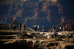 [UNESCO WORLD HERITAGE SITE]<br /> <br /> Travelers walk safely alongside the protective railing at the Grand Canyon