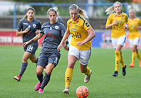 20190813 - DENDERLEEUW, BELGIUM : PAOK's Thomai Vardali (left) pictured defending on LSK's Sophie Haug (r) during the female soccer game between the Greek PAOK Thessaloniki Ladies FC and the Norwegian LSK Kvinner Fotballklubb Ladies , the third and final game for both teams in the Uefa Womens Champions League Qualifying round in group 8 , Tuesday 13 th August 2019 at the Van Roy Stadium in Denderleeuw  , Belgium  .  PHOTO SPORTPIX.BE for NTB | DAVID CATRY