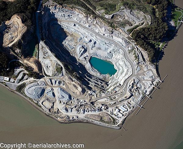 aerial photograph, Dutra Rock Quarry, San Rafael, Marin County, California