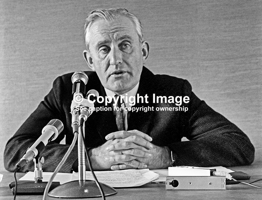 Major James Chichester-Clark, Prime Minister, Government of N Ireland, at Press Conference announcing 6 months ban on all parades. 23rd July 1970. 197007230269<br />