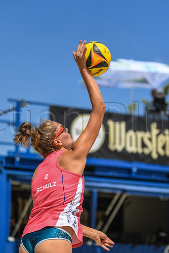 27th June 2020, Dusseldorf, Germany; The German Beach Volleyball League;  Sarah Schulz serves the ball