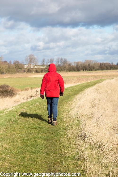 Woman wearing red winter jacket walking on raised coastal flood defence dyke embankment, Hollesley Bay, Suffolk, England, UK