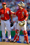 17 June 2006: Chad Cordero (left), pitcher for the Washington Nationals, gets some encouragement from catcher Brian Schneider during a game against the New York Yankees at RFK Stadium, in Washington, DC. The Nationals overcame a seven run deficit to win 11-9 in the second game of the interleague series...Mandatory Photo Credit: Ed Wolfstein Photo...