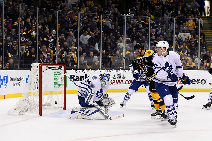 Saturday, November 21, 2015: A shot by Boston Bruins defenseman Zdeno Chara (33) (not pictured) sails by Toronto Maple Leafs goalie James Reimer (34) into the net during the National Hockey League game between the Toronto Maple Leafs and the Boston Bruins held at TD Garden, in Boston, Massachusetts.  Eric Canha/CSM