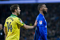 Wesley Hoolahan of Norwich City puts a hand on the back of Junior Hoilett of Cardiff City during the Sky Bet Championship match between Cardiff City and Norwich City at the Cardiff City Stadium, Cardiff, Wales on 1 December 2017. Photo by Mark  Hawkins / PRiME Media Images.