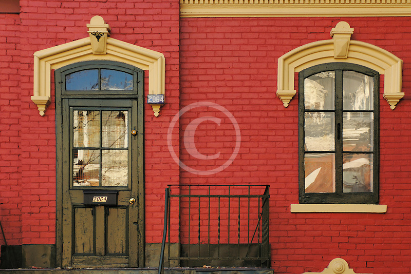 Canada, Montreal, Front door and window, row house