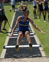 NWA Democrat-Gazette/ANDY SHUPE<br /> Destiny Mejia of Decatur leaps Wednesday, May 15, 2019, while competing in the long jump portion of the state heptathlon championship at Ramay Junior High School. Visit nwadg.com/photos to see more photographs from the meet.