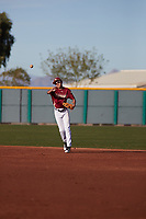 Kaysen Kajiwara (2) of Damien Memorial Schools in Mililani, Hawaii during the Baseball Factory All-America Pre-Season Tournament, powered by Under Armour, on January 14, 2018 at Sloan Park Complex in Mesa, Arizona.  (Freek Bouw/Four Seam Images)