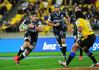 Marcell Coetzee takes the ball up during the Super Rugby match between the Hurricanes and Sharks at Westpac Stadium, Wellington, New Zealand on Saturday, 9 May 2015. Photo: Dave Lintott / lintottphoto.co.nz