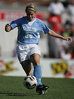 OCT 2, 2005: College Park, MD, USA:  UNC Tarheel forward #34 Mandy Moraca takes the ball down the field while playing the Maryland Terrapins at Ludwig Field.  UNC won, 4-0. Mandatory Credit: Photo By Brad Smith (c) Copyright 2005 Brad Smith