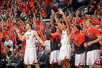 Virginia team celebrates during the game Saturday Feb. 7, 2015, in Charlottesville, Va. Virginia defeated Louisville  52-47. (Photo/Andrew Shurtleff)