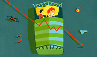 Couple lying in bed with decreasing line graph ExclusiveImage