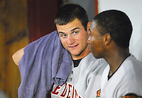 Frederick Keys RHP Chorye Spoone took a no-hitter into the eighth inning against the Potomac Nationals June 25, 2007,, at Pfitzner Stadium, Woodbridge, Va. Spoone is shown in the dugout after finishing the eighth. Photo by: Tom Priddy/Four Seam Images