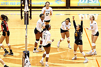 SAN ANTONIO, TX - AUGUST 16, 2018: The University of Texas at San Antonio Roadrunners defeat the University of the Incarnate Word Cardinals 3-0 (25-14, 25-19, 26-24) in an exhibition match at the UTSA Convocation Center. (Photo by Jeff Huehn)