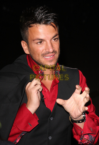 Peter Andre.Caudwell Childrens' Butterfly Ball at the Battersea Evolution, London, England. September 15th 2011.headshot portrait black waistcoat red shirt stubble facial hair hands.CAP/JIL.©Jill Mayhew/Capital Pictures