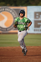Michael Cruz (8) of the Eugene Emeralds runs the bases during a game against the Salem-Keizer Volcanoes at Volcanoes Stadium on July 24, 2017 in Keizer, Oregon. Eugene defeated Salem-Keizer, 7-6. (Larry Goren/Four Seam Images)