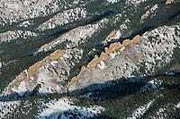 Rock dikes along west Spanish Peak, near LaVeta, Colorado.  Dec 2013