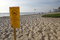 Signs mark areas of beach closed due to contaminated water.
