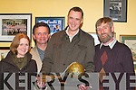 Stephen Henken who was presented with the Ball and Chain award at the Killorglin Panto social in the Fishery bar Killorglin on Friday night l-r: Bernice Henken, Eamon Looney, Stephen Henken and Paul Walker   .   Copyright Kerry's Eye 2008