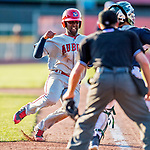 16 July 2017: Auburn Doubledays infielder Joshual Ramirez comes home to score Auburn's second run in the 8th inning against the Vermont Lake Monsters at Centennial Field in Burlington, Vermont. The Monsters defeated the Doubledays 6-3 in NY Penn League action. Mandatory Credit: Ed Wolfstein Photo *** RAW (NEF) Image File Available ***