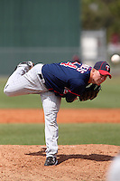 Minnesota Twins pitcher Alex Wimmers #24 delivers a pitch during a minor league spring training intrasquad game at the Lee County Sports Complex on March 25, 2012 in Fort Myers, Florida.  (Mike Janes/Four Seam Images)