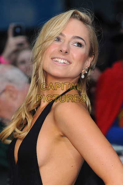 Kimberley Garner<br /> 'Man Of Steel' UK film premiere, Empire cinema, Leicester Square, London, England.<br /> 12th June 2013<br /> headshot portrait black halterneck top side side boob <br /> CAP/BEL<br /> &copy;Tom Belcher/Capital Pictures
