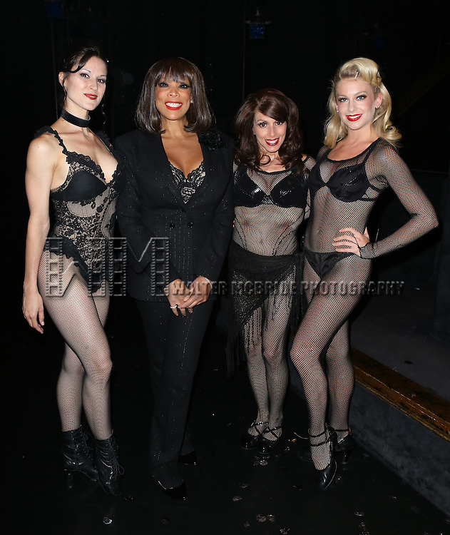 "Cristy Candler, Wendy Williams, Donna Marie Asbury and Anne Horak  backstage after Wendy Williams makes her Broadway stage debut as Matron ""Mama"" Morton in CHICAGO at the Ambassador Theatre on July 1, 2013 in New York City."
