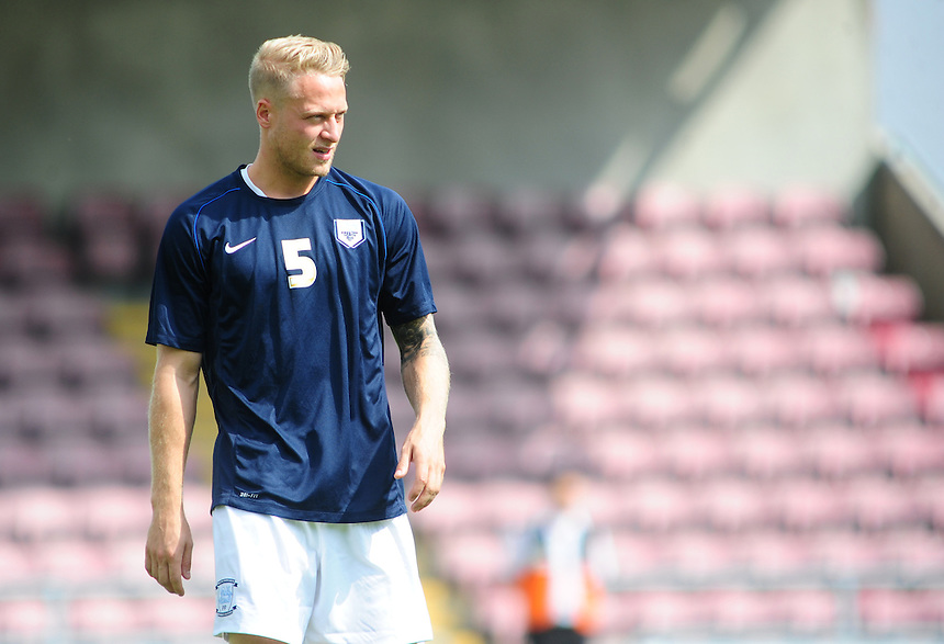 Preston North End's Tom Clarke during the pre-match warm-up <br /> <br /> Photo by Chris Vaughan/CameraSport<br /> <br /> Football - The Football League Sky Bet League 1 - Coventry City v Preston North End - Sunday 25th August 2013 - Sixfields Stadium - Northampton<br /> <br /> &copy; CameraSport - 43 Linden Ave. Countesthorpe. Leicester. England. LE8 5PG - Tel: +44 (0) 116 277 4147 - admin@camerasport.com - www.camerasport.com