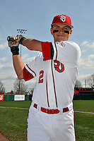 St.John's Red Storm infielder Joe Panik (2) before the first game of a doubleheader against Notre Dame Fighting Irish at Jack Kaiser Stadium in Queens, New York;  April 21, 2011.  St. John's defeated Notre Dame 6-0.  Photo By Tomasso DeRosa/Four Seam Images