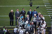 SANTA CLARA, CA - FEBRUARY 7:  Three-time Super Bowl MVP Joe Montana of the San Francisco 49ers tosses the coin before Super Bowl 50 between the Denver Broncos and the Carolina Panthers at Levi's Stadium on February 7, 2016 in Santa Clara, California. (Photo by Brad Mangin)