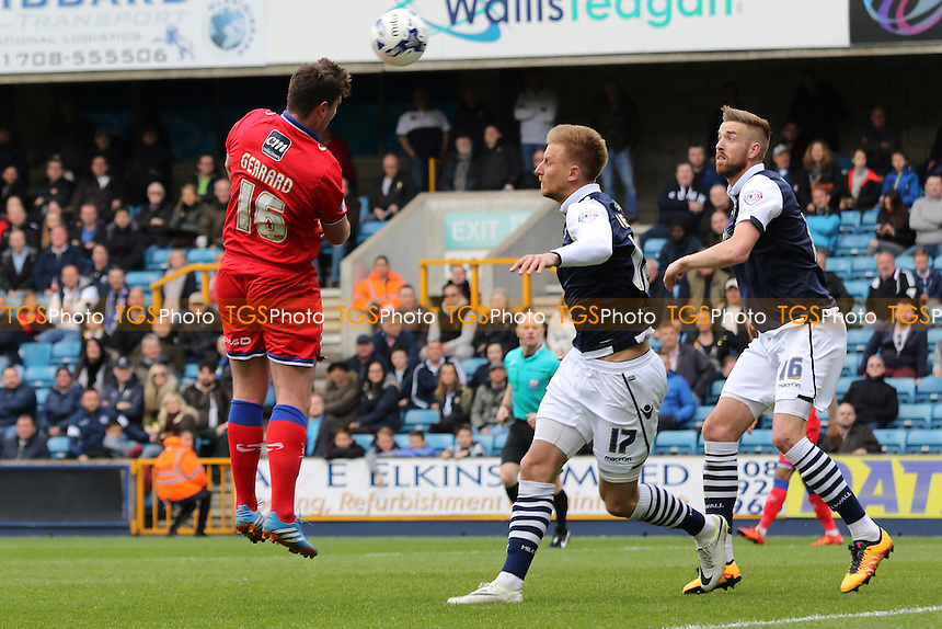 Anthony Gerrard of Oldham heads the ball towards the Millwall goal during Millwall vs Oldham Athletic, Sky Bet League 1 Football at The Den on 30th April 2016