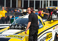 May 4, 2018; Commerce, GA, USA; Crew member for NHRA funny car driver Jonnie Lindberg during qualifying for the Southern Nationals at Atlanta Dragway. Mandatory Credit: Mark J. Rebilas-USA TODAY Sports