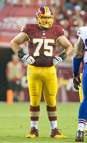 Washington Redskins offensive guard Brandon Scherff (75) looks over the Buffalo Bills defense during the pre-season game at FedEx Field in Landover, Maryland on Friday, August 26, 2016.  The Redskins won the game 21 - 16.<br /> Credit: Ron Sachs / CNP/MediaPunch ***FOR EDITORIAL USE ONLY***
