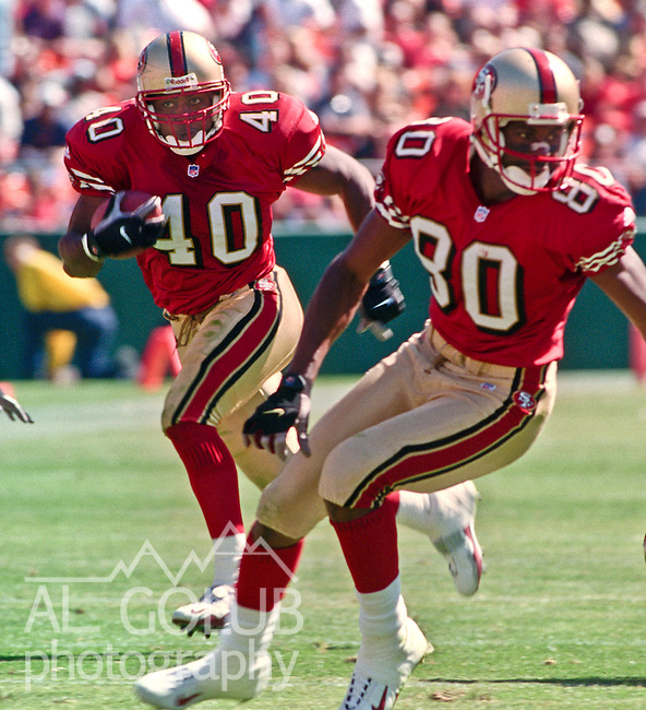 San Francisco 49ers vs. Carolina Panthers at Candlestick Park Sunday, September 10, 2000. Panthers beat 49ers 38-22.  San Francisco 49ers wide receiver Jerry Rice (80) blocks for full back Fred Beasley (40).