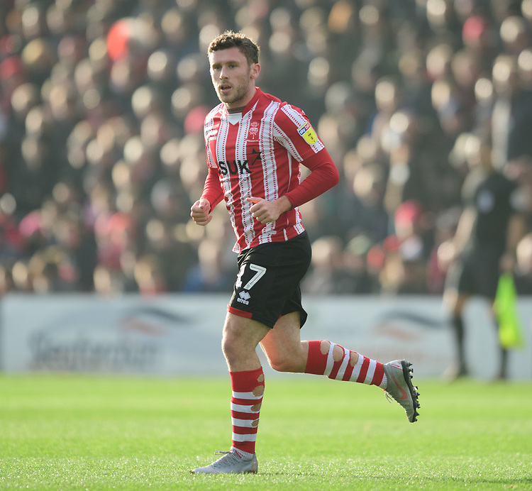 Lincoln City's Shay McCartan<br /> <br /> Photographer Chris Vaughan/CameraSport<br /> <br /> The EFL Sky Bet League Two - Lincoln City v Mansfield Town - Saturday 24th November 2018 - Sincil Bank - Lincoln<br /> <br /> World Copyright © 2018 CameraSport. All rights reserved. 43 Linden Ave. Countesthorpe. Leicester. England. LE8 5PG - Tel: +44 (0) 116 277 4147 - admin@camerasport.com - www.camerasport.com