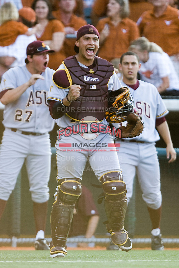 Arizona State Sun Devil catcher Xorge Carrillo #14 celebrates a big out against the Texas Longhorns in NCAA Tournament Super Regional Game #3 on June 12, 2011 at Disch Falk Field in Austin, Texas. (Photo by Andrew Woolley / Four Seam Images)
