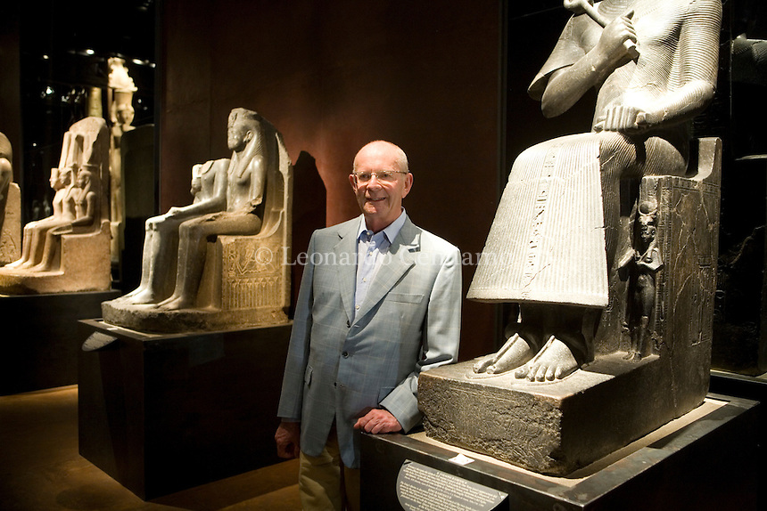 "Turin, Italy, 2007. Wilbur Smith, African adventure writer born in Zambia, at the Turin egyptian museum.He's one of the most read author in Italy and probably the most popular adventure writer in the world. His books are now translated into twenty-six languages. Among the others, 'When the Lion Feeds', (""Il destino del leone""), ""The Sunbird"", (L'uccello del sole), Assegai, published in Italy by Longanesi and TEA editors."