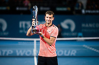 GRIGOR DIMITROV (BUL)<br /> <br /> BRISBANE INTERNATIONAL, PAT RAFTER ARENA, BRISBANE TENNIS CENTRE, BRISBANE, QUEENSLAND, AUSTRALIA, ATP, WTA, Hard Court, Outside, Men's tennis, Women's tennis, Men's singles, women's singles, men's doubles, women's doubles.<br /> <br /> &copy; TENNIS PHOTO NETWORK