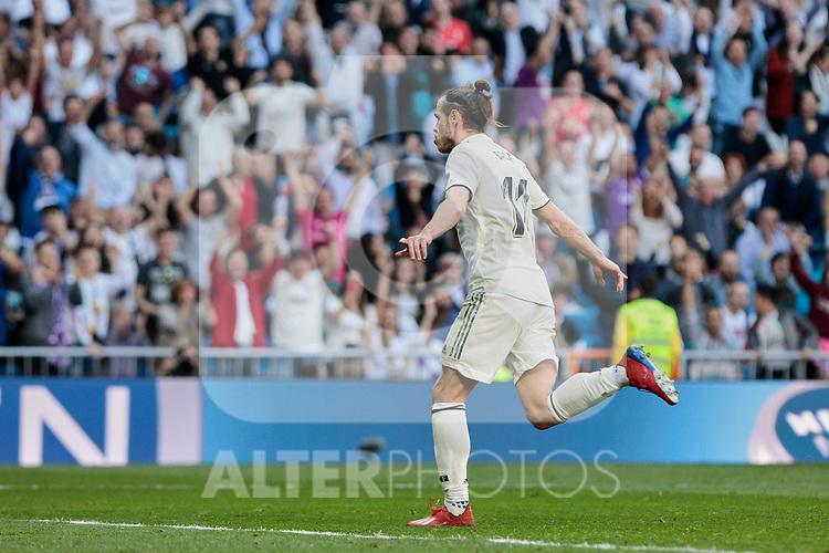 Real Madrid's Gareth Bale celebrates goal during La Liga match between Real Madrid and Real Club Celta de Vigo at Santiago Bernabeu Stadium in Madrid, Spain. March 16, 2019. (ALTERPHOTOS/A. Perez Meca)