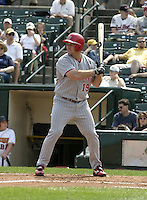 August 15, 2004:  Jim Rushford of the Scranton-Wilkes Barre Red Barons, Class-AAA International League affiliate of the Philadelphia Phillies, during a game at Frontier Field in Rochester, NY.  Photo by:  Mike Janes/Four Seam Images