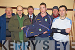 Melvin Carson, Carsons Daybreak, Beaufort, pictured presenting tracksuits to Beaufort minor captain James Coffey ahead of the minor final, in Beaufort clubhouse on Friday night. Also pictured are Simon O'Sullivan, Dan Coffey, Anthony Breen and Ian O'Shea.