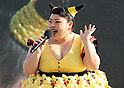 """August 12, 2016, Yokohama, Japan - Japanese actress and comedienne Naomi Watabe dances with Pikachu characters, Nintendo's videogame software Pokemon's wellknown character at a show """"Super Soaking Splash Show"""" in Yokohama, suburban Tokyo on Friday, August 12, 2016. The Pikachu mascots perfom the several shows daily to attract summer vacationers as a part of the """"Great Pikachu Outbreak"""" event through August 14.    (Photo by Yoshio Tsunoda/AFLO) LWX -ytd-"""