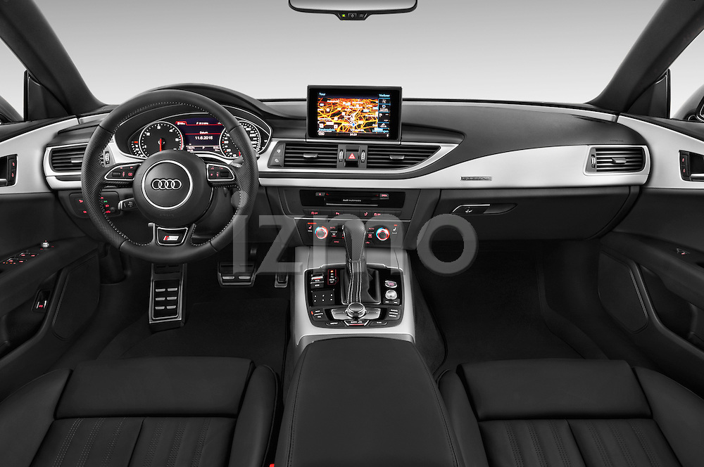 Stock photo of straight dashboard view of a 2015 Audi A7 S Line 5 Door Hatchback Dashboard