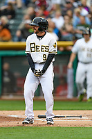 Shane Robinson (9) of the Salt Lake Bees at bat against the Sacramento River Cats in Pacific Coast League action at Smith's Ballpark on April 11, 2017 in Salt Lake City, Utah.  The River Cats defeated the Bees 8-7. (Stephen Smith/Four Seam Images)